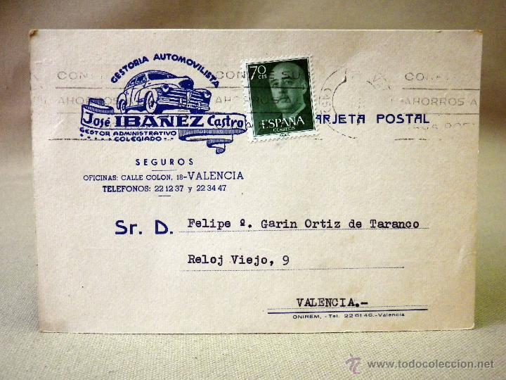 Sellos: TARJETA POSTAL, COMERCIAL, GESTORIA AUTOMOVILISTICA IBAÑEZ, VALENCIA - Foto 2 - 46721896