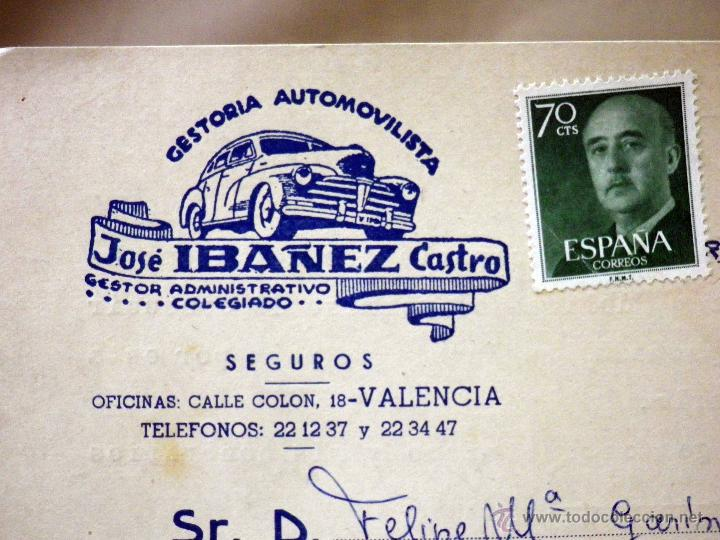 Sellos: TARJETA POSTAL, COMERCIAL, GESTORIA AUTOMOVILISTICA IBAÑEZ, VALENCIA - Foto 2 - 46721920