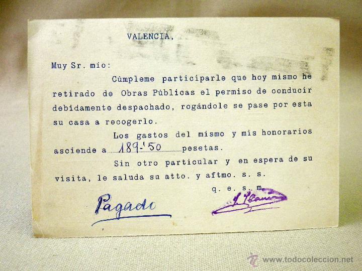 Sellos: TARJETA POSTAL, COMERCIAL, GESTORIA AUTOMOVILISTICA IBAÑEZ, VALENCIA - Foto 3 - 46721920