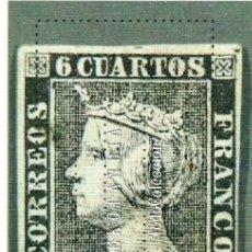 Sellos: TARJETA POSTAL. PRIMER SELLO DE ESPAÑA. 6 CUARTO DE LA REINA ISABEL II 1850. TARJETAS DEL MUSEO DE. Lote 46885420