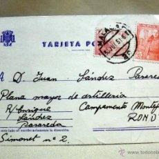 Sellos: TARJETA POSTAL, MÁLAGA - CAMPAMENTO MONTEJAQUE RONDA, 1951, SELLO DE 25 CENTIMOS. Lote 46924247