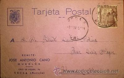 TARJETA PUBLICITARIA MUEBLES JOSE ANTONIO CANO 1949 CIRCULADA DE YECLA A BLANCA (Sellos - España - Tarjetas)