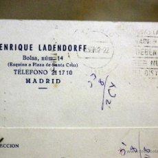 Sellos: TARJETA POSTAL, COMERCIAL, ENRIQUE LADENDORFF, MADRID, VALENCIA, 1962. Lote 47612998