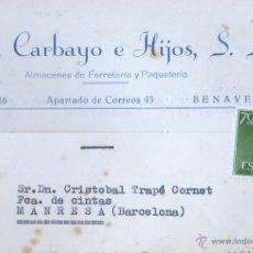 Sellos: TARJETA COMERCIAL DE JUAN CARBAYO E HIJOS S.L. DE BENAVENTE - FERRETERIA 1962. Lote 48237180