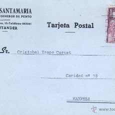 Sellos: TARJETA COMERCIAL DE GENEROS DE PUNTO PEDRO SANTAMARIA - SANTANDER 1966. Lote 48238162