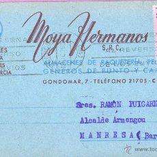 Sellos: TARJETA COMERCIAL DE GENEROS DE PUNTO MOYA HERMANOS DE CORDOBA - 1963 DIRG. MANRESA. Lote 51042083