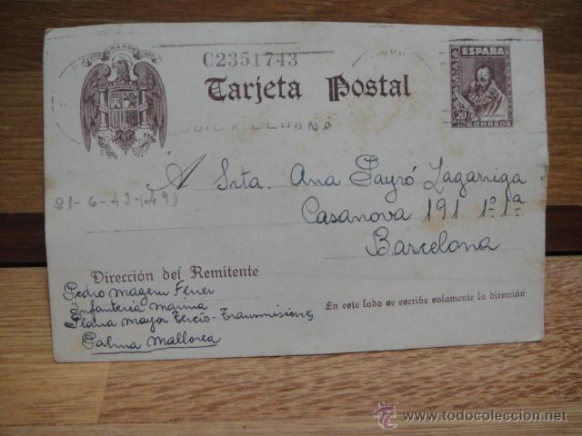 TARJETA POSTAL CIRCULADA EN 1943 (Sellos - España - Tarjetas)