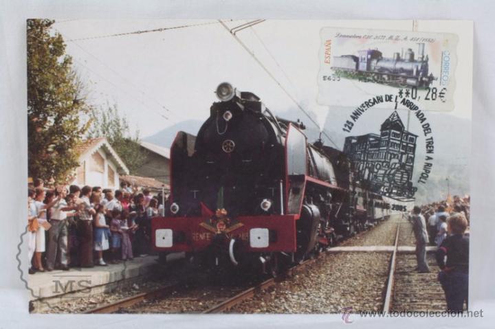 TARJETA / POSTAL 125 ANIVERSARI ARRIBADA TREN A RIPOLL 1980, GIRONA - MATASELLOS 2005 - RENFE (Sellos - España - Tarjetas)