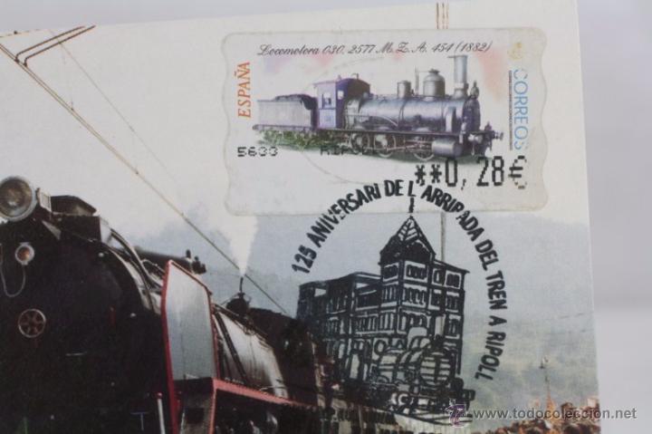 Sellos: Tarjeta / Postal 125 Aniversari Arribada Tren a Ripoll 1980, Girona - Matasellos 2005 - RENFE - Foto 2 - 49764577