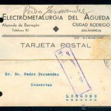 Sellos: POSTAL 0085 ELECTROMETALURGIA DEL AGUEDA CIUDAD RODRIGO SALAMANCA CENSURA MILITAR LOGROÑO. Lote 49980137