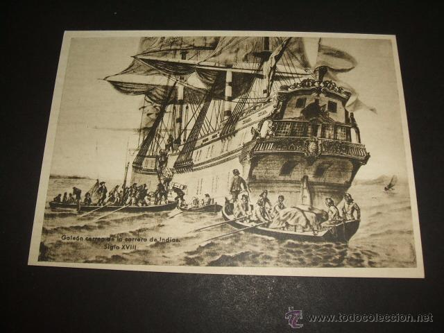 GALEON CORREO DE LA CARRERA DE INDIAS SIGLO XVIII TARJETA (Sellos - España - Tarjetas)