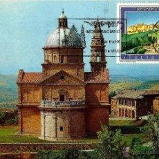 Sellos: ITALIA 1990- YV 1873 [TEMPLO DE SAN BIAGIO] (TARJETA MÁXIMA). Lote 50905736
