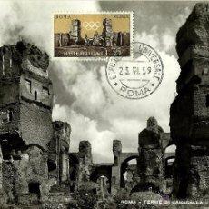 Sellos: ITALIA 1959- YV 0790 [EL CALDARIO DE LAS TERMAS DE CARACALLA EN ROMA] (TARJETA MÁXIMA). Lote 50982249