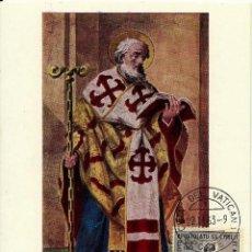Sellos: VATICANO 1963- YV 0387 [SAN CIRILO, IGLESIA DE S. CLEMENTE, FRESCO] (TARJETA MÁXIMA). Lote 51704171
