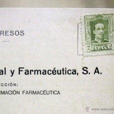 Sellos: TARJETA POSTAL, BAYER, REVISTA DE INFORMACION FARMACEUTICA, SELLO DE 2 CENTIMOS, 1929. Lote 52477975