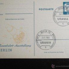 Sellos: ALEMANIA. TARJETA POSTAL CON MATASELLO: 24.5.1963 BERLIN NAVE ESPACIAL. Lote 52747414