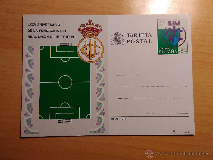 ENTERO POSTAL DE FUTBOL - LXXV ANIVERSARIO DE LA FUNDACION DEL REAL UNION CLUB DE IRUN (Sellos - España - Tarjetas)