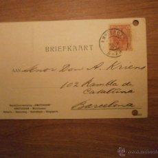 Sellos: TARJETA BRIEFKAART AMSTERDAM A BARCELONA AÑO 1905. Lote 53273461