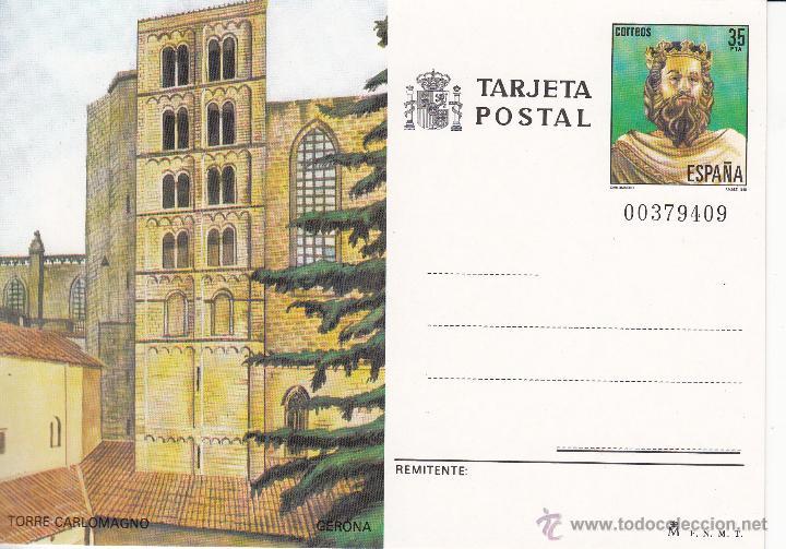 TARJETA POSTAL: 1985 GERONA -- TORRE DE CARLOMAGNO (Sellos - España - Tarjetas)