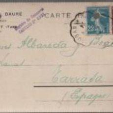 Sellos: TARJETA COMERCIAL FRANCIA GEORGE DAURE LAINES MAZAMET - TARN DIRIGIDA A TARRASA 1924. Lote 54444779