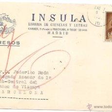 Selos: INSULA LIBRERÍA DE CIENCIAS Y LETRAS. MADRID. TARJETA PEDIDOD E 1952. Lote 54577488