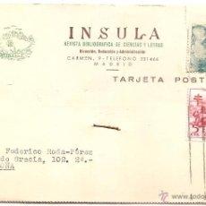 Selos: INSULA LIBRERÍA DE CIENCIAS Y LETRAS. MADRID. TARJETA PEDIDO DE 1953. Lote 54577498