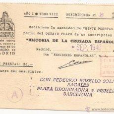 Francobolli: TARJETA PEDIDO DE HISTORIA DE LA CRUZADA ESPAÑOLA. TIMBRE CONCERTADO A METÁLICO. Lote 54577626