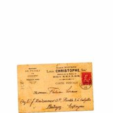 Sellos: TARJETA CIRCULADA EN 1902 DE BRUSELAS-BADAJOZ (LOUIS CHRISTOPHE) SELLO MATASELLADO. Lote 54646885