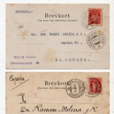 Sellos: LOTE DE 3 TARJETAS POSTALES. FRANQUEADAS DE NORUEGA A LA CORUÑA. AÑO 1909.. Lote 54768546