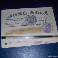 Sellos: TARJETA COMERCIAL DE JOSE SOLA, EMBUTIDOS, LISTA DE PRECIOS. VICH BARCELONA 1941... Lote 55704888