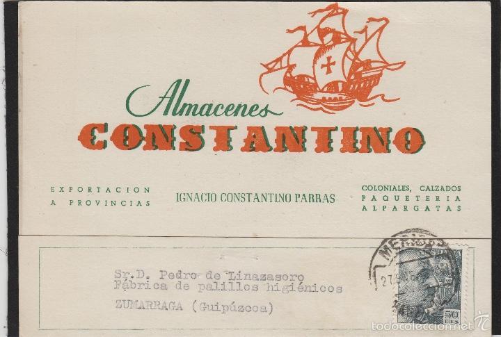 TARJETA COMERCIAL - ALMACENES CONSTANTINO , IGNACIO . MERIDA ( BADAJOZ ) AÑO 1956 (Sellos - España - Tarjetas)