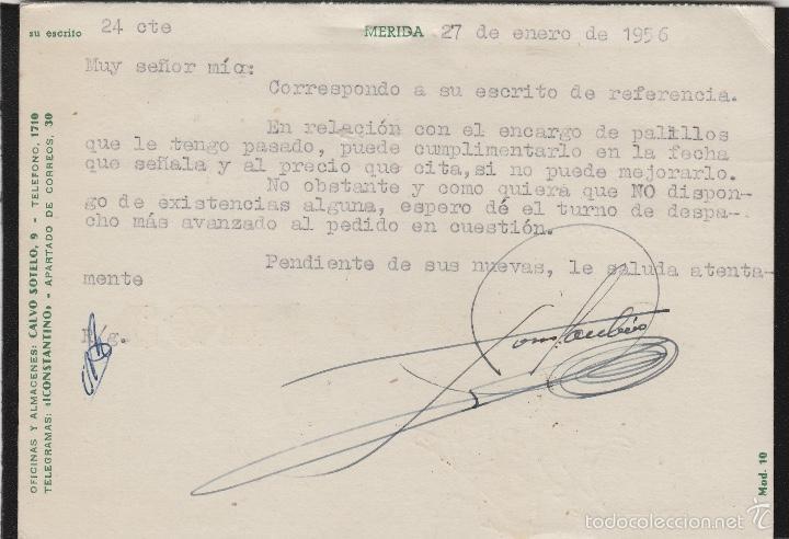 Sellos: TARJETA COMERCIAL - ALMACENES CONSTANTINO , IGNACIO . MERIDA ( BADAJOZ ) año 1956 - Foto 2 - 56698035