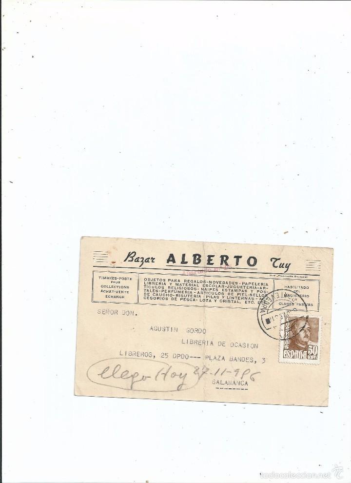 TARJETA PUBLICIDAD - BAZAR ALBERTO TUY PONTEVEDRA - SOBRE REMESA DE SELLOS - 1956 - SALAMANCA (Sellos - España - Tarjetas)