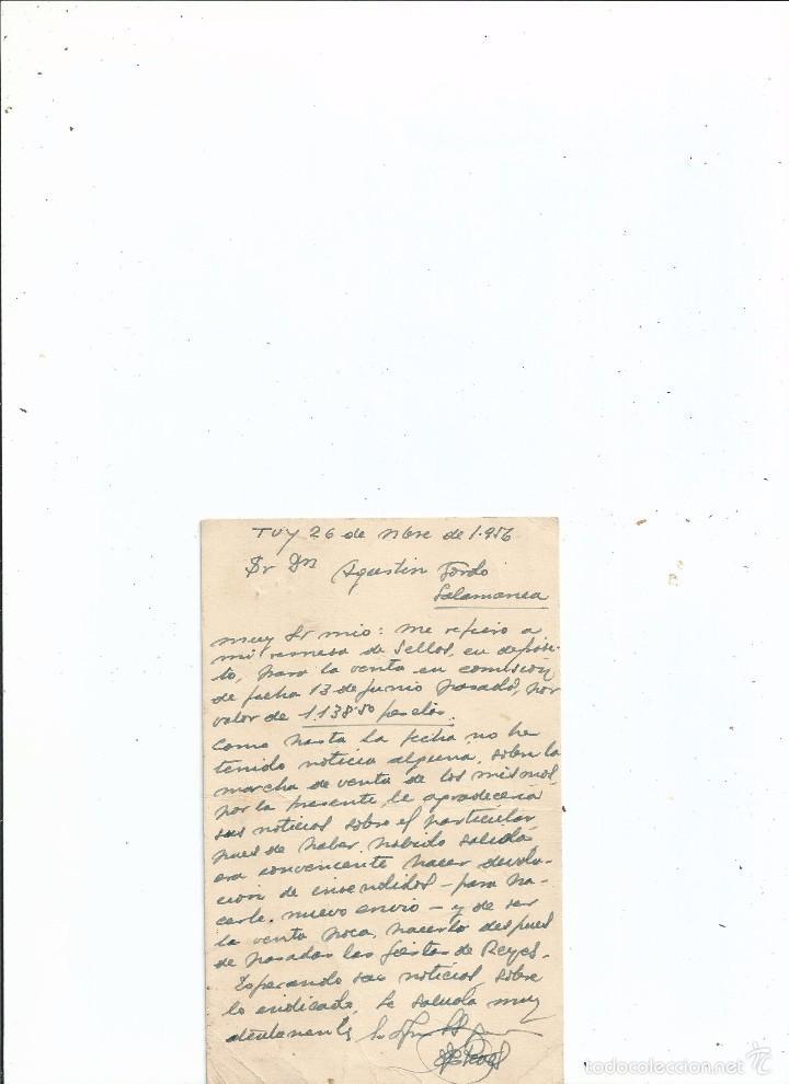 Sellos: TARJETA PUBLICIDAD - BAZAR ALBERTO TUY PONTEVEDRA - SOBRE REMESA DE SELLOS - 1956 - SALAMANCA - Foto 2 - 59141230