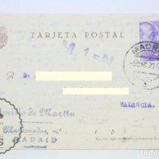 Sellos: TARJETA POSTAL - EMILIO DE MARTÍN, MADRID - VALENCIA, AÑO 1939 - SELLO FRANCISCO FRANCO. Lote 62503060