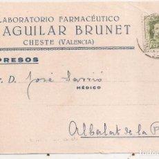 Francobolli: CHESTE (VALENCIA). TARJETA PUBLICITARIA DE LIPOLESTINA. Lote 68510061
