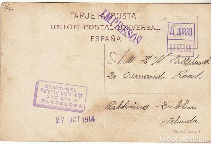 Sellos: sello 268. BARCELONA a DUBLIN (IRLANDA). 1914 - Foto 2 - 151057794