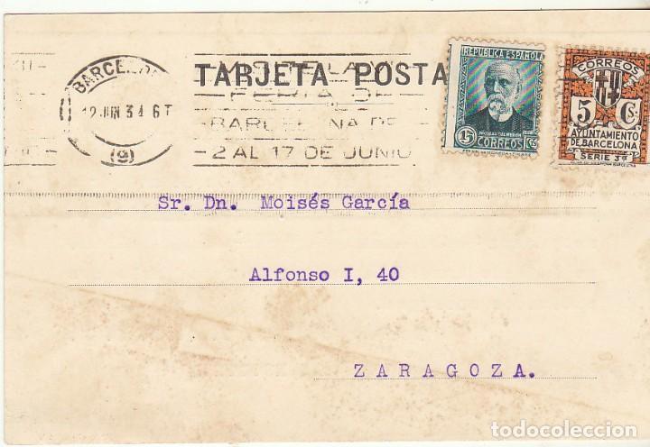 LA ESCOCESA : BARCELONA A ZARAGOZA. 1934. (Sellos - España - Tarjetas)