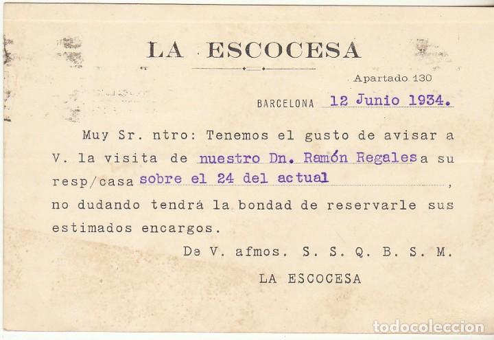 Sellos: LA ESCOCESA : BARCELONA a ZARAGOZA. 1934. - Foto 2 - 68729649