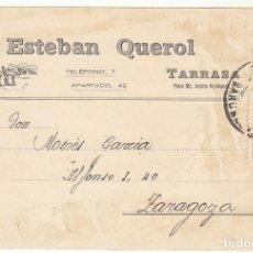 Sellos: ESTEBAN QUEROL : TARRASA A ZARAGOZA. 1930.. Lote 68729869