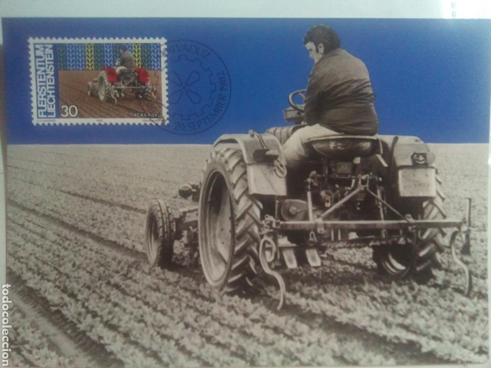 LIECHTENSTEIN 1982 TARJETA MÁXIMA TEMA AGRICULTURA (Sellos - Extranjero - Tarjetas Máximas)