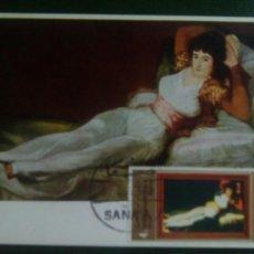 Briefmarken - Goya Yemen tarjeta máxima maja vestida - 72914271