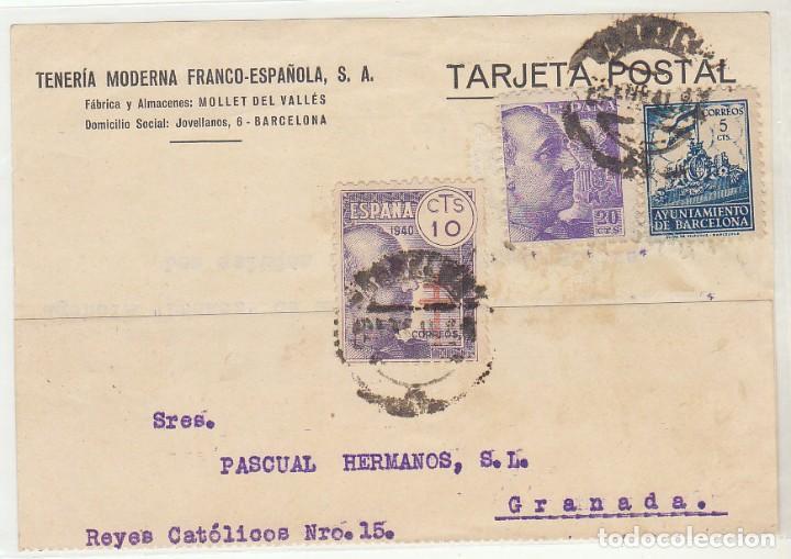 BARCELONA A GRANADA. 1940 (Sellos - España - Tarjetas)