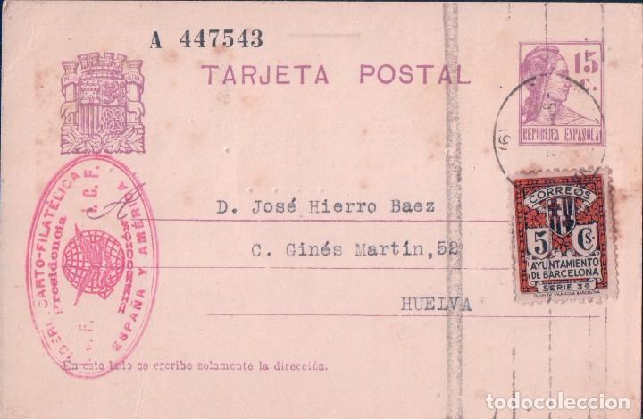 TARJETA POSTAL - SELLO IBERO CARTO-FILATELICA I.C.F. - AYUNTAMIENTO BARCELONA - ++++ (Sellos - España - Tarjetas)