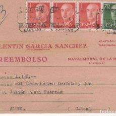Francobolli: POSTAL COMERCIAL VALENTÍN GARCÍA SÁNCHEZ . NAVALMORAL DE LA MATA ( CÁCERES ) AÑO 1960. Lote 75579579