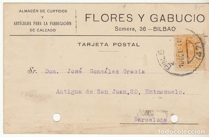 T.P.: SELLO 271. BILBAO A BARCELONA. 1921. (Sellos - España - Tarjetas)