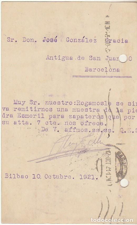 Sellos: T.P.: Sello 271. BILBAO a BARCELONA. 1921. - Foto 2 - 78317309