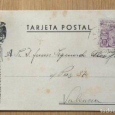 Sellos: TARJETA POSTAL - CIRCULADA MADRID / VALENCIA. Lote 81280284