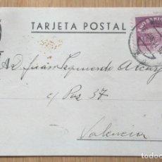 Sellos: TARJETA POSTAL CIRCULADA MADRID - VALENCIA. Lote 81280524