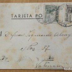 Sellos: TARJETA POSTAL CIRCULADA MADRID - VALENCIA. Lote 81280676